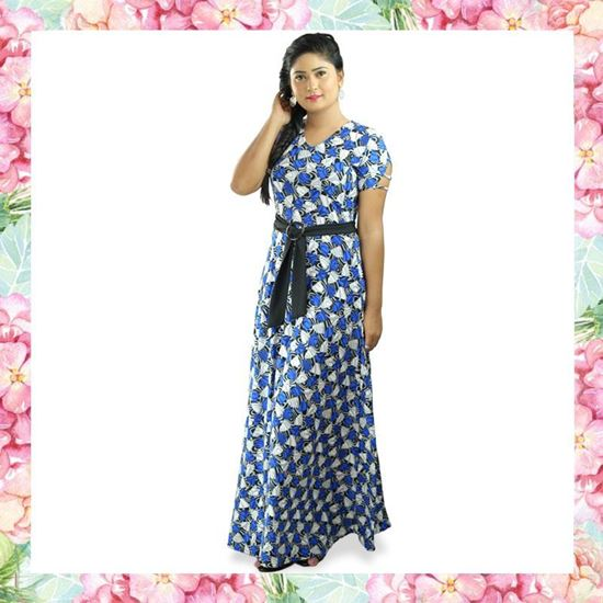 Picture of V-necked sleeve designed long frock