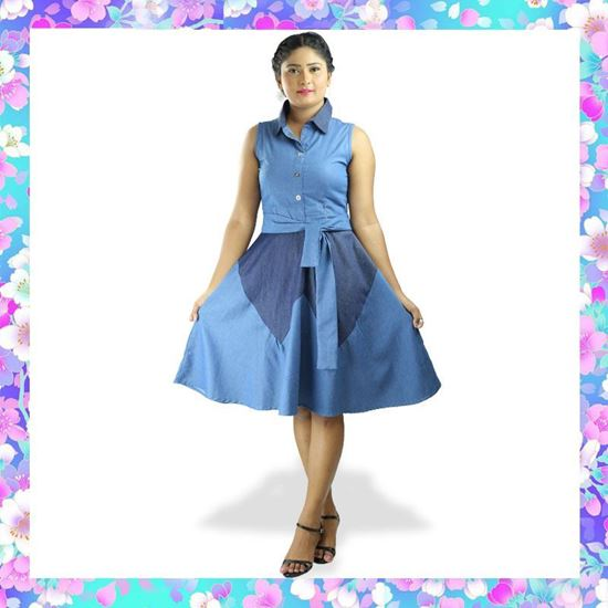 Picture of Sleeveless chambray short frock with belt