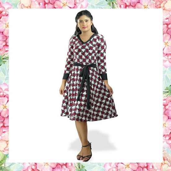 Picture of V-necked long sleeve short frock