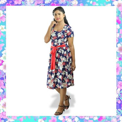 Picture of Sweet heart necked floral designed short frock