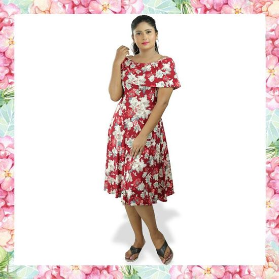 Picture of Floral designed off shoulder short frock with frill