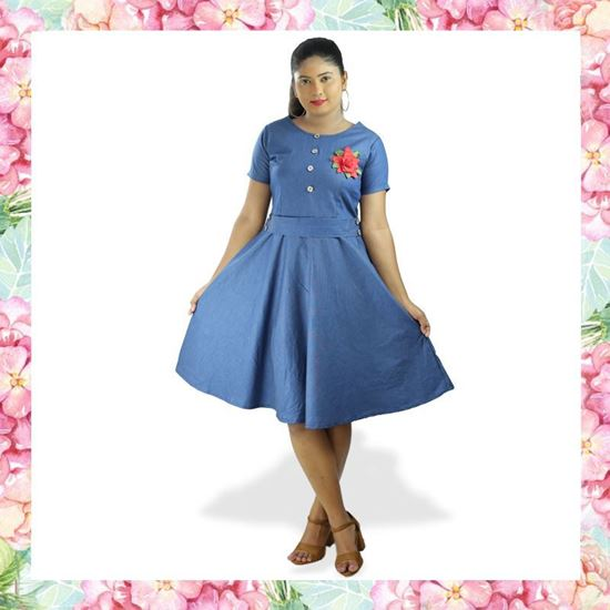 Picture of Chambray Short Frock with Embroidery Rose Flower