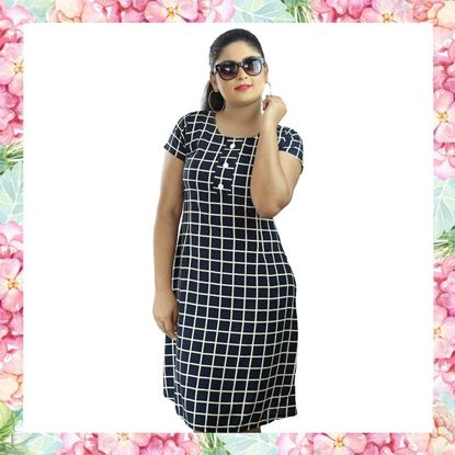 Picture of Check Designed Short Sleeve Frock