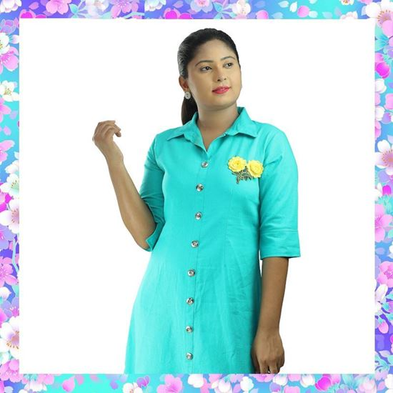 Picture of Green Color Linen Short Shirt Dress