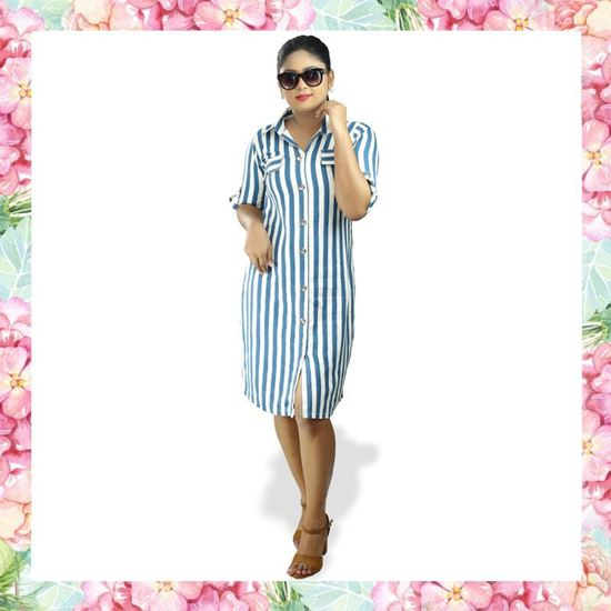 Picture of Stripe Designed Short Shirt Dress