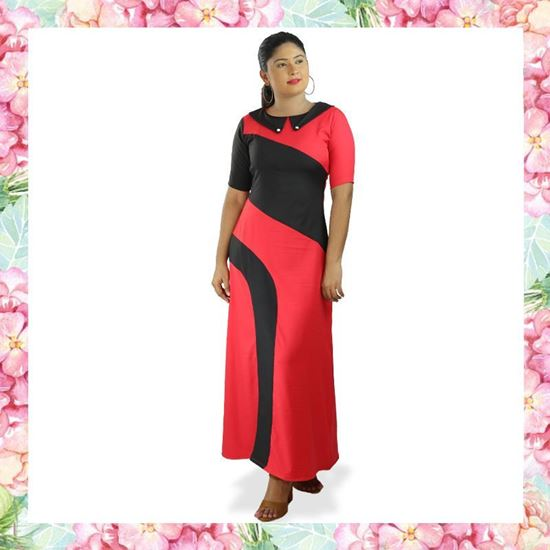 Picture of Black & Red Mixed A-line Maxi Dress with Collar