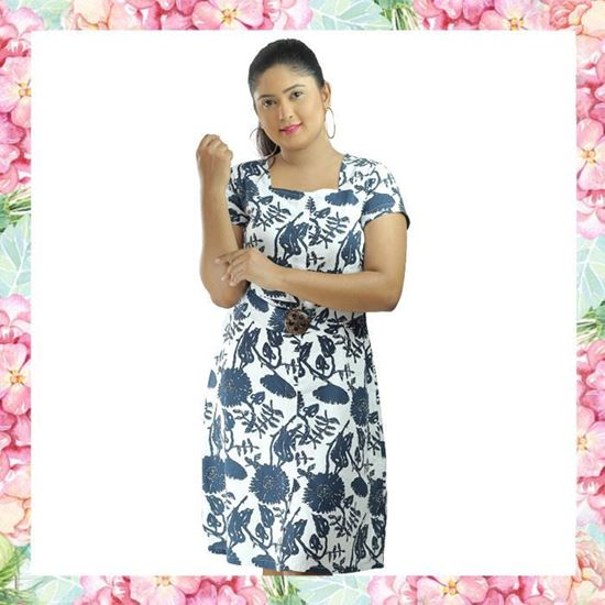 Picture of Printed Linen Short Frock with Coconut Shell Buckle