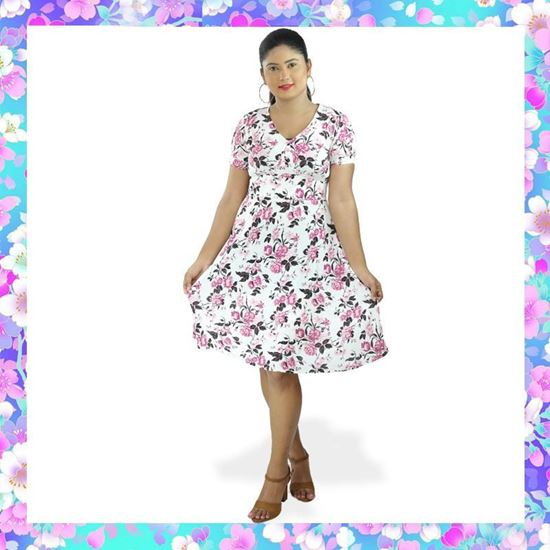 Picture of Empire Line Floral Designed Short Frock with Puff  Sleeve