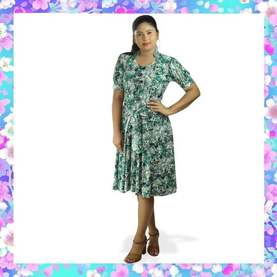 Picture of Four-way Stretch Puff Sleeve Short Frock