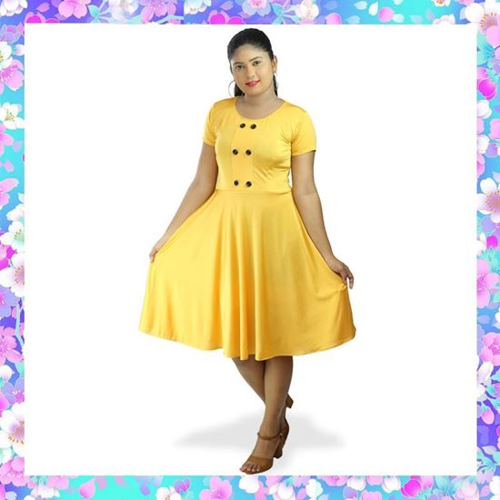 Picture of Two-way Stretch Short Sleeve Short Frock with Buttons