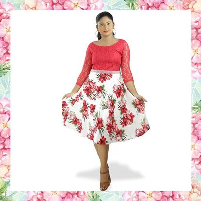Picture of Red & White Mixed Boat Necked Short Frock