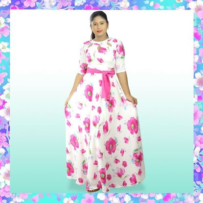 Picture of Neck Designed Floral Maxi Dress with Belt