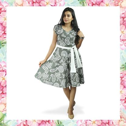 Picture of Printed Linen Short Sleeves Short Frock with Belt