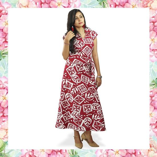 Picture of Printed Linen Short Sleeves Long Frock with Belt