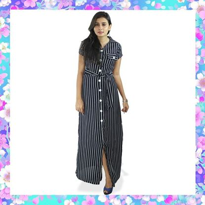 Picture of Stripe Designed Maxi Dress with Belt