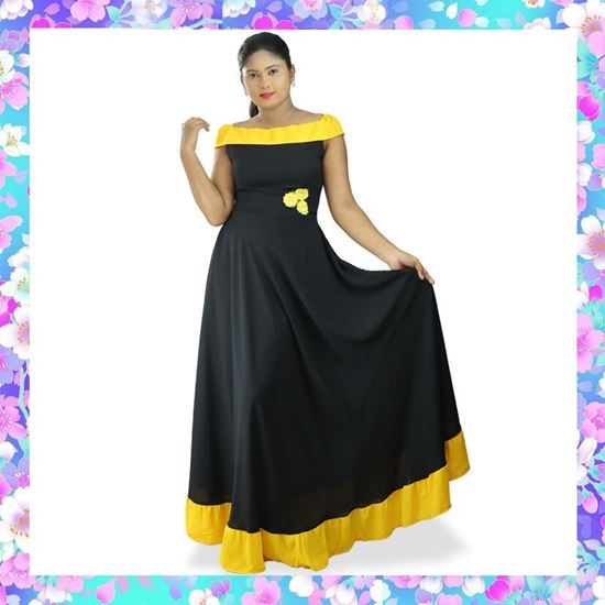 Picture of Two Color Off shoulder Maxi Dress with Frill