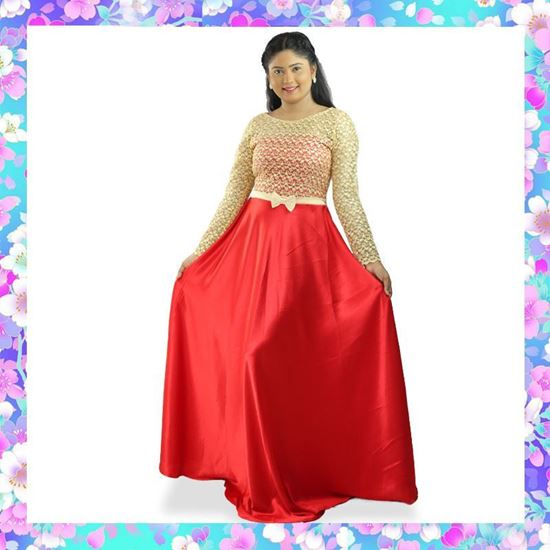 Picture of Long Sleeves Maxi Party Frock with Bow