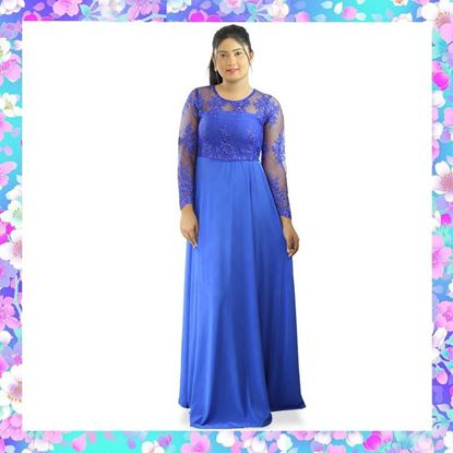 Picture of Long Sleeves Maxi Party Frock with Embroidery Net