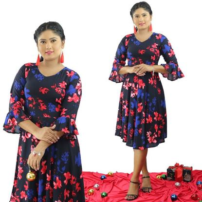 Picture of V-necked Long Sleeve Short Frock with Bell