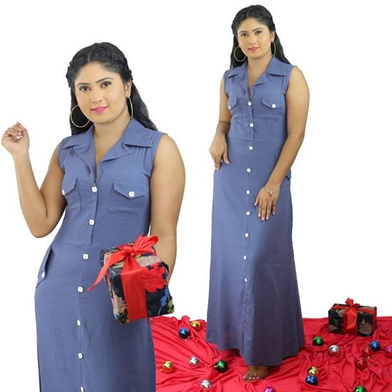 Picture of Button Embelleshed Maxi Dress with Pockets