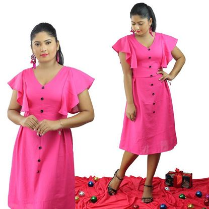Picture of V-necked Short Bell Sleeve Short Frock