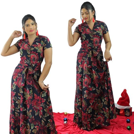 Picture of Floral Designed A-line Maxi Dress with Belt