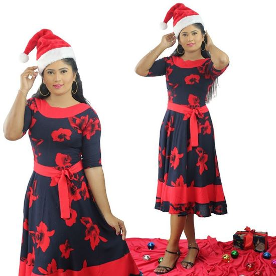 Picture of Round Necked Short  Frock with Red Belt