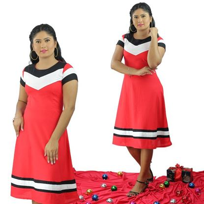 Picture of Three color mixed short sleeves short frock