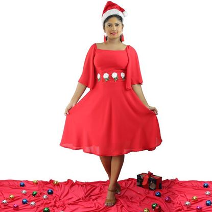 Picture of Off shoulder Georgette  Short Frock  with Bell Sleeves
