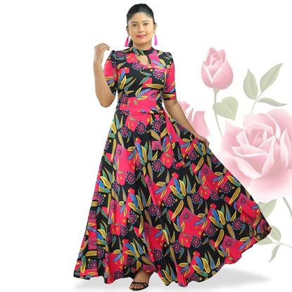 Picture of High necked maxi frock with belt