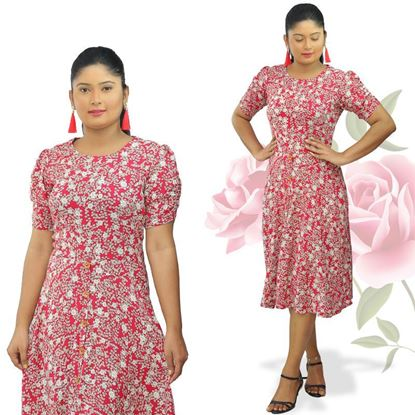 Picture of Small flower designed puff sleeve short frock