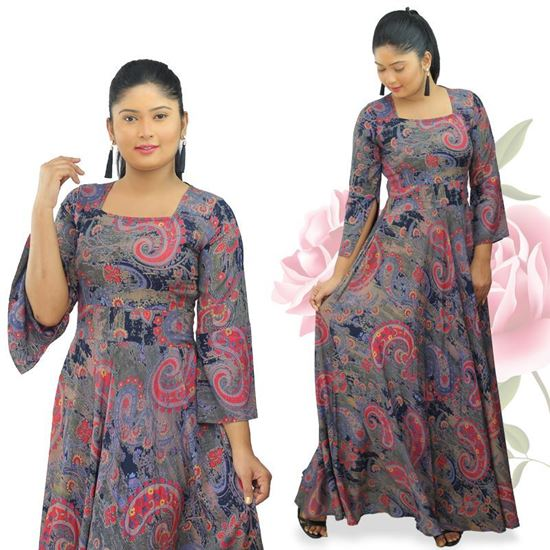 Picture of Square necked long sleeves maxi dress