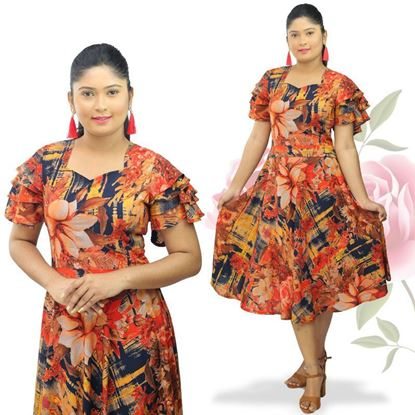 Picture of Sweet heart necked short frock with Butterfly frilled sleeves