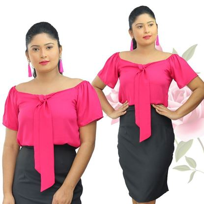 Picture of Knot front off the shoulder blouse