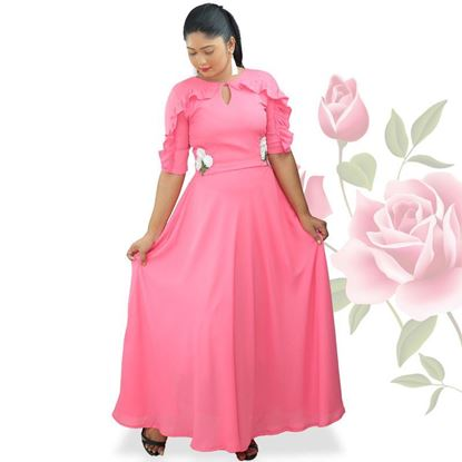 Picture of Neck Designed Georgette Maxi Dress with Small Flowers