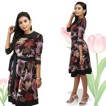 Picture of Neck Designed Printed Linen Short Frock with Belt