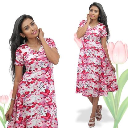 Picture of V-necked floral short frock with short sleeves