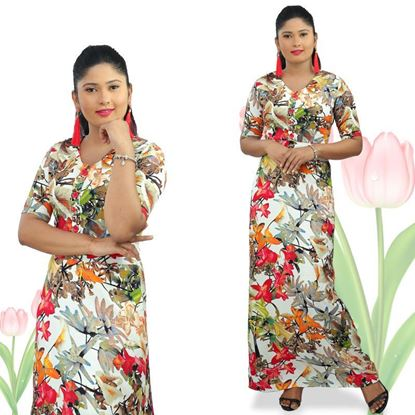 Picture of A-line Maxi Dress with Floral Designed