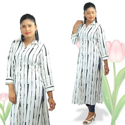 Picture of Black and white long sleeves long top with collar