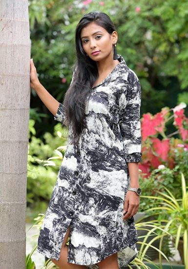 Picture of Printed Designed Shirt Dress with Long Sleeves