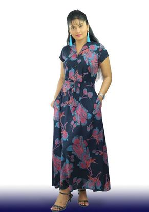 Picture of Collared A-line Maxi Dress with Belt