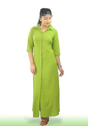 Picture of Collared Long Sleeves A-line Maxi Dress