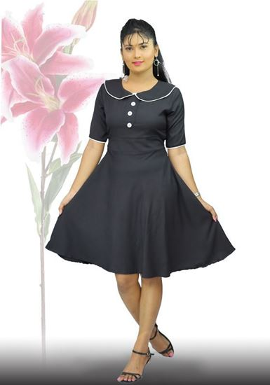 Picture of Button Embellished Flared Dress with Collar