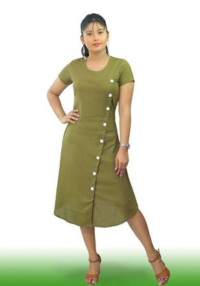 Picture of Button Embellished A-Line Short Dress with Round Neck