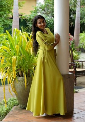 Picture of Sleeve Designed Flared Maxi Frock with Belt
