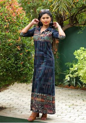 Picture of Beautiful Border Designed A-line Maxi dress