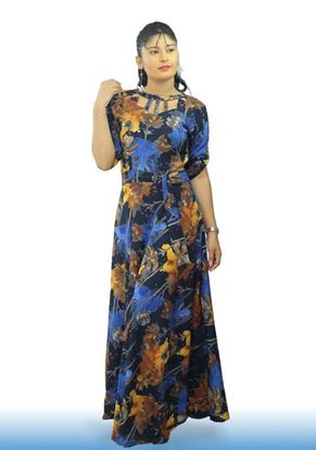 Picture of Neck Designed Maxi Frock with Belt