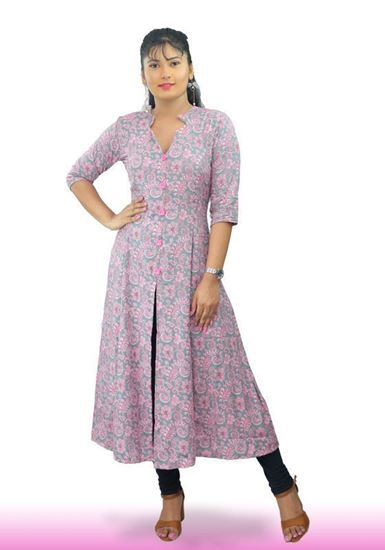 Picture of Printed Designed Princess Line Long Top with Buttons