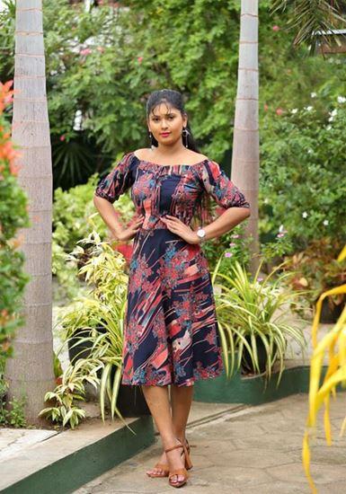 Picture of Off shoulder Printed Designed Short Dress