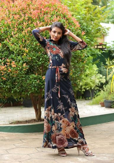 Picture of Printed Flower Bordered A-line Maxi Dress